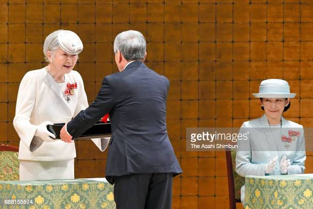 Empress Michiko and Princess Kiko of Akishino attend the Japanese Red Cross Society annual meeting at Meiji Jingu Kaikan on May 25 2017 in Tokyo Japan