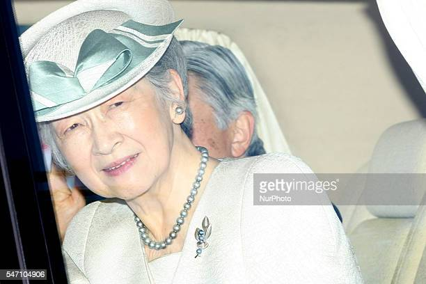 Empress Michiko attend at Kensei Kinenkan a ceremony to commemorate the anniversary of Japan's restoration of sovereignty and return to the...