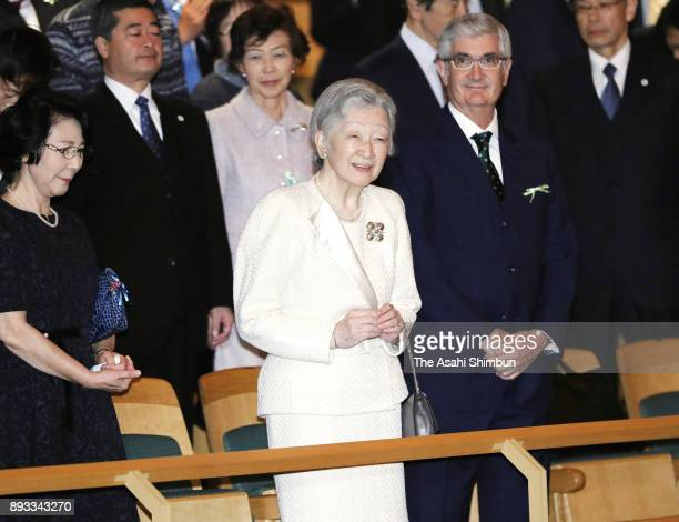 Empress Michiko attends a charity concert at Tokyo Opera city Concert Hall on December 14 2017 in Tokyo Japan