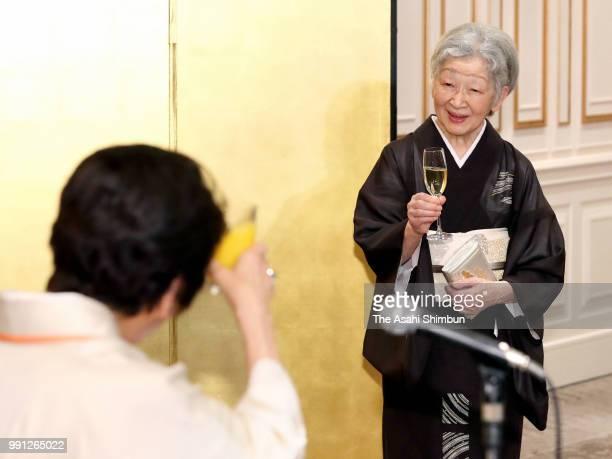 Empress Michiko attends the 64th Zonta International Convention Closing Reception at Pacifico Yokohama on July 3 2018 in Yokohama Kanagawa Japan