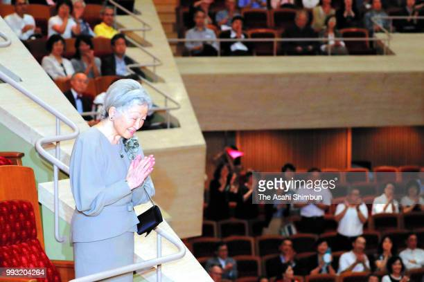 Empress Michiko attends the Japan Philharmonic Orchestra concert at Suntory Hall on July 6, 2018 in Tokyo, Japan.