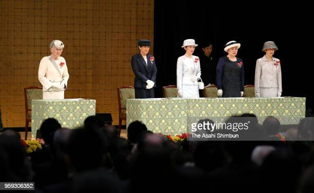 Empress Michiko Crown Princess Masako Princess Kiko of Akishino Princess Nobuko of Mikasa and Princess Hisako of Takamado attend the Japanese Red...