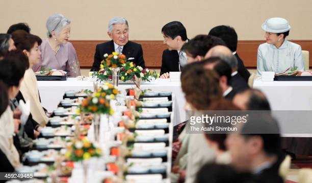 Empress Michiko Emperor Akihito Crown Prince Naruhito and Crown Princess Masako attend the party to celebrate the Emperor's birthday at the Imperial...