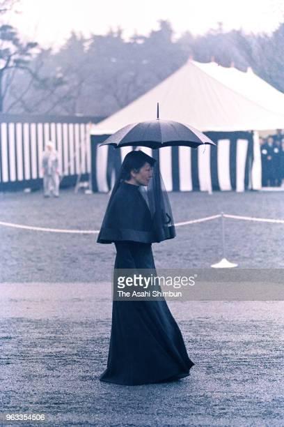 Empress Michiko follows the 'Sokaren' float prior to the 'Sojoden no Gi' prior to the 'Taiso no Rei' late Emperor Hirohito's funeral at Shinjuku...