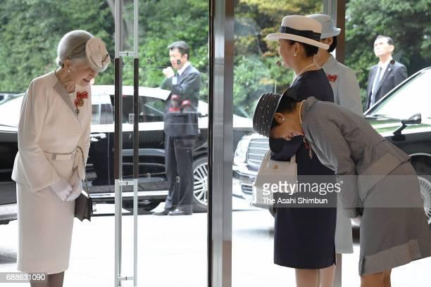 Empress Michiko greets Princess Kiko of Akishino, Princess Nobuko of Mikasa and Princess Hisako of Takamado after the Japanese Red Cross Society...