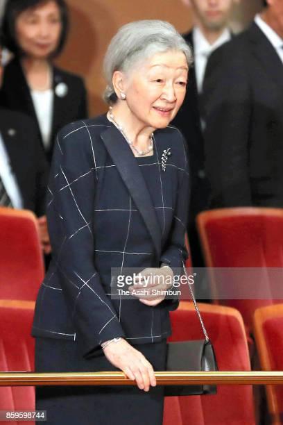 Empress Michiko is seen at Kanemi Yaguchi's concert at Hamarikyu Asahi Hall on October 8 2017 in Tokyo Japan