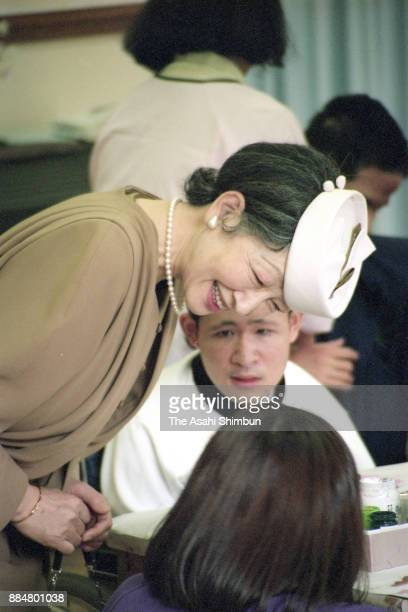 Empress Michiko is seen during her visit to a center for handicapped on October 27 1994 in Kusatsu Shiga Japan