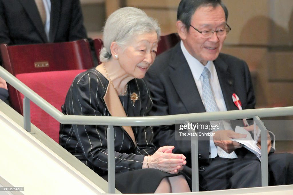 Empress Michiko is seen on arrival at the charity concert on June 26, 2017 in Tokyo, Japan.