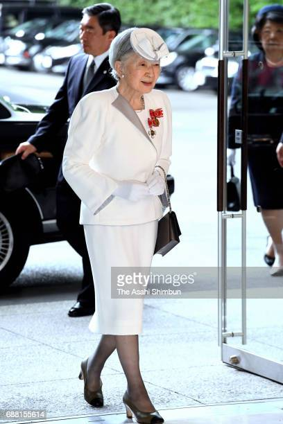Empress Michiko is seen on arrival to attend the Japanese Red Cross Society annual meeting at Meiji Jingu Kaikan on May 25 2017 in Tokyo Japan
