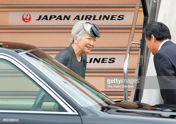 Empress Michiko is seen on departure at Tokyo International Airport on December 11 2014 in Tokyo Japan The Empress will attend the funeral of Queen...