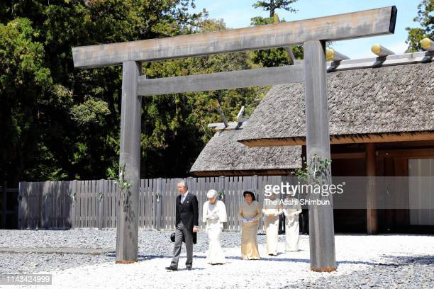 Empress Michiko leaves the Geku, outer shrine at Ise Shrine on April 18, 2019 in Ise, Mie, Japan. The emperor will abdicate at the end of this month.