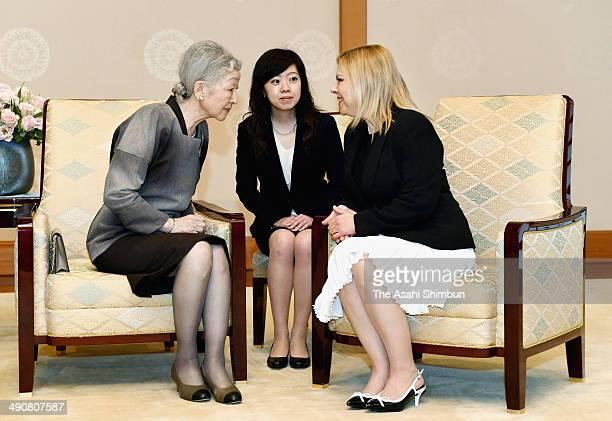 Empress Michiko of Japan talks with Sara Netanyahu at the Imperial Palace on May 13 2014 in Tokyo Japan Prime Minister Benjamin Netanyahu of Israel...