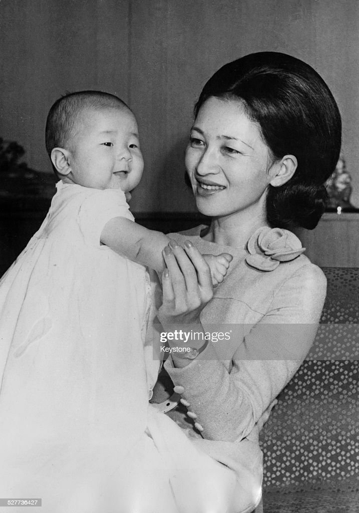 Empress Michiko of Japan with her daughter Sayako, Princess Nori, around the time of her 35th birthday in Tokyo, Japan, October 1969.