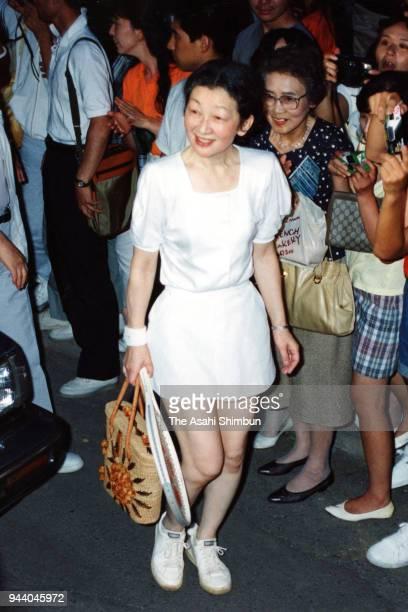 Empress Michiko plays tennis on August 11 1990 in Karuizawa Nagano Japan