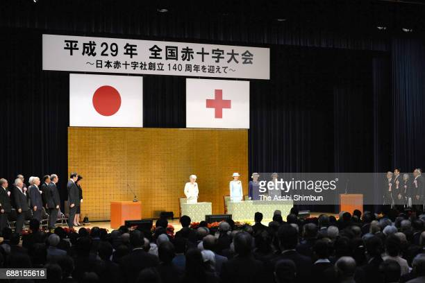 Empress Michiko, Princess Kiko of Akishino, Princess Nobuko of Mikasa and Princess Hisako of Takamado attend the Japanese Red Cross Society annual...