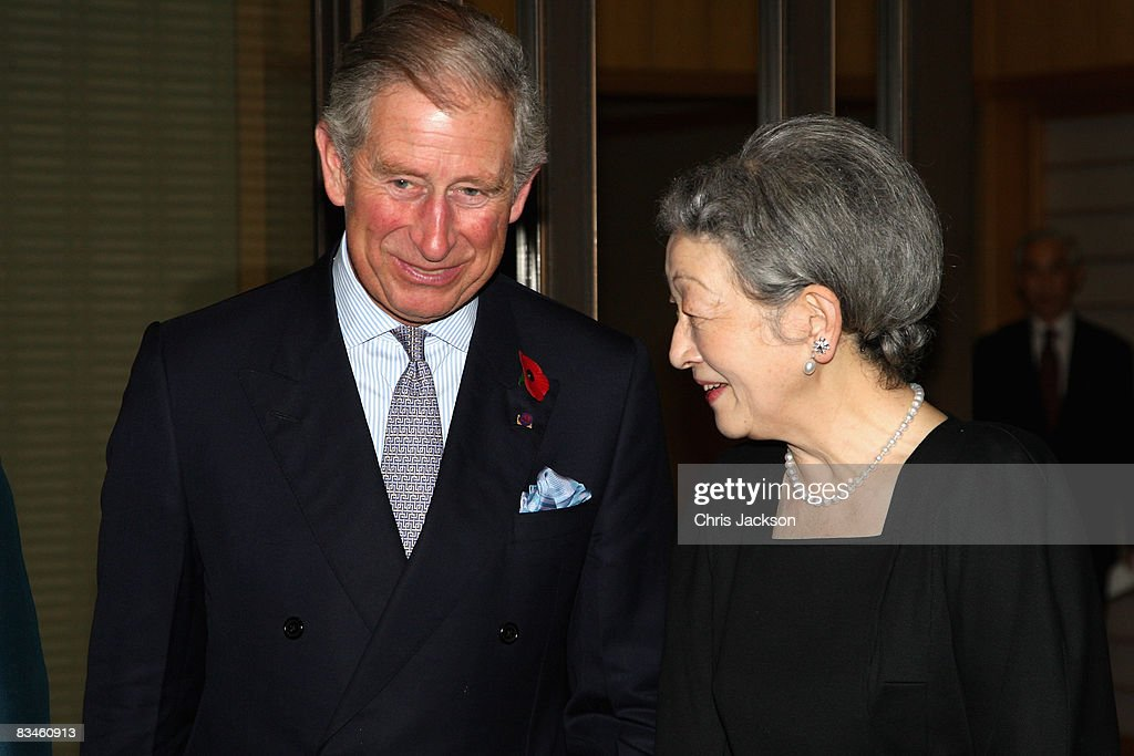 Empress Michiko talks to Prince Charles, Prince of Wales as they arrive for a private dinner at the Imperial Palace on October 28, 2008 in Tokyo, Japan. Prince Charles, Prince of Wales and Camilla, Duchess of Cornwall are in Japan as part of a ten day tour of East Asia that takes in Japan, Brunei and Indonesia.