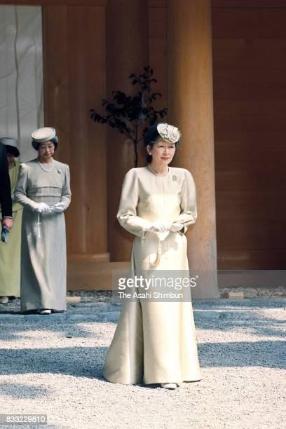 Empress Michiko visits Ise Jingu Shrine on March 29 1994 in Ise Mie Japan