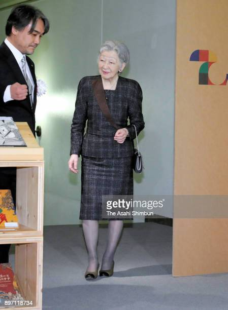 Empress Michiko visits the 'Beatiful Books Can Change The World: The Universe of Tara Books, India' exhibition at the Itabashi Art Museum on December...