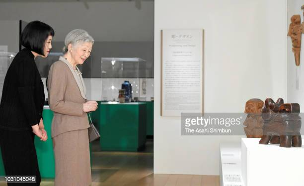 Empress Michiko visits the Kawai Kanjiro exhibition at Panasonic Shiodome Museum on September 10 2018 in Tokyo Japan