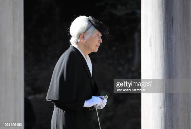 Empress Michiko visits the mausoleum of Emperor Showa at the Musashino Imperial Graveyard on January 07, 2019 in Hachioji, Tokyo, Japan.