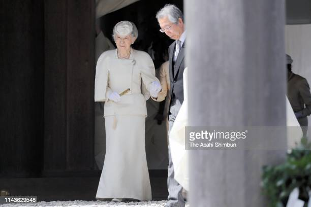 Empress Michiko visits the Naiku, inner shrine at Ise Shrine on April 18, 2019 in Ise, Mie, Japan. The emperor will abdicate at the end of this month.