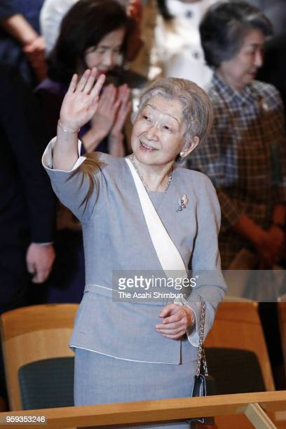 Empress Michiko waves on arrival at the Beppu Argerich Music Concert at Tokyo Opera City on May 16, 2018 in Tokyo, Japan.