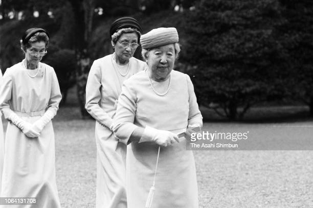 Empress Nagako is seen during his visit to the Tama Imperial Graveyard on October 5, 1983 in Hachioji, Tokyo, Japan.