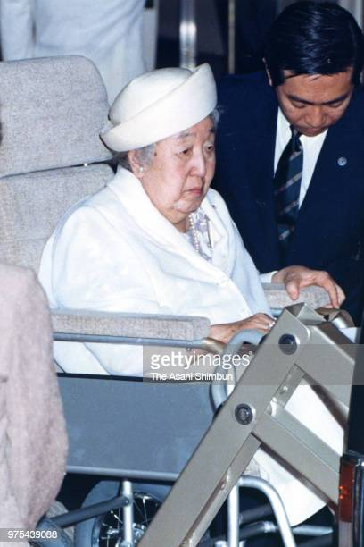 Empress Nagako is seen on arrival at Harajuku Station on the way to the Nasu Imperial Villa on July 20, 1988 in Tokyo, Japan.