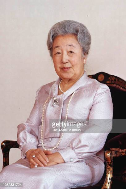 Empress Nagako poses for photographs during the portrait session at the Imperial Palace on December 21, 1981 in Tokyo, Japan.