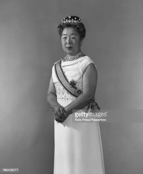 Empress Nagako wife of Emperor Hirohito of Japan posed in formal dress tiara and sash in Japan in October 1971