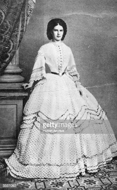 Empress of Austria Elisabeth Amalie Eugenie wearing a crinoline dress