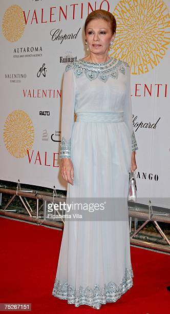Empress of Iran Farah Pahlavi arrives at the post haute couture show gala dinner and ball in the Parco dei Daini at the Villa Borghese July 7 2007 in...