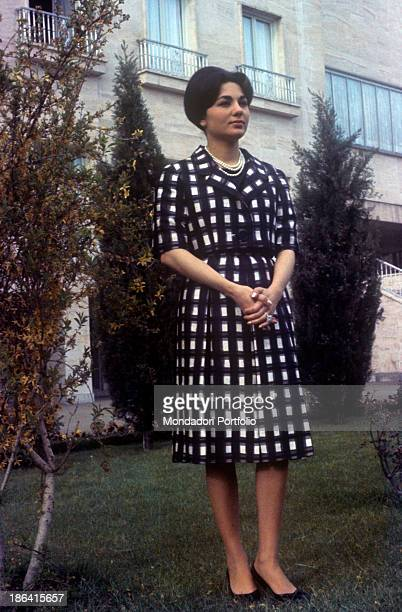 Empress of Iran Farah Pahlavi posing in the garden of Echtesassi Palace Farah Pahlavi is the third wife of the Shah of Iran Mohammad Reza Pahlavi...