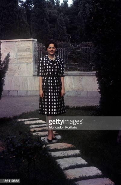 Empress of Iran Farah Pahlavi posing in the garden of Echtesassi Palace Farah Pahlavi is the third wife of the Shah of Iran Mohammad Reza Pahlavi...