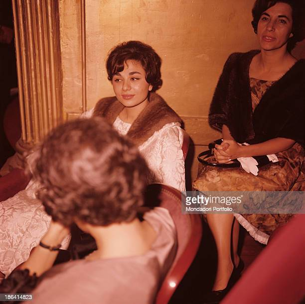 Empress of Iran Farah Pahlavi sitting with two women during the gala at Golestan Palace on the occasion of the visit of King Hussein of Jordan Farah...