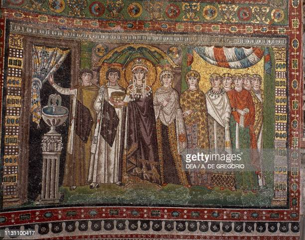 Empress Theodora and her retinue Byzantine mosaic in the apse of the Basilica of San Vitale Ravenna EmiliaRomagna Italy 6th century