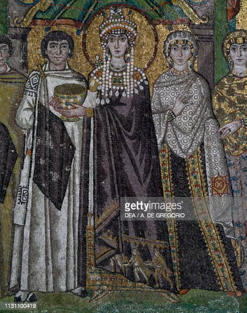 Empress Theodora and her retinue, Byzantine mosaic in the apse of the Basilica of San Vitale , Ravenna, Emilia-Romagna, Italy, 6th century, detail.