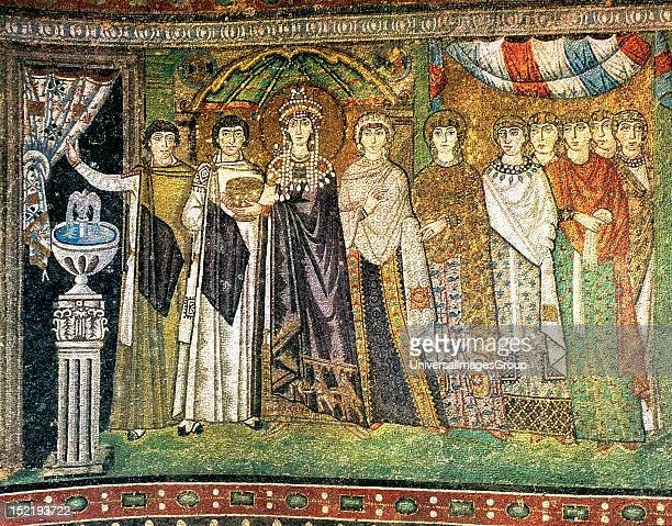 Empress Theodora I with a court of ladies Mosaic 6th century Basilica of Saint Vitale Ravenna Italy