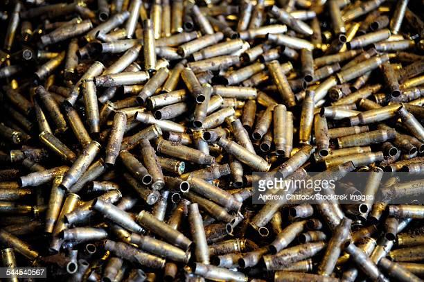 Empty 7.62mm brass casings.
