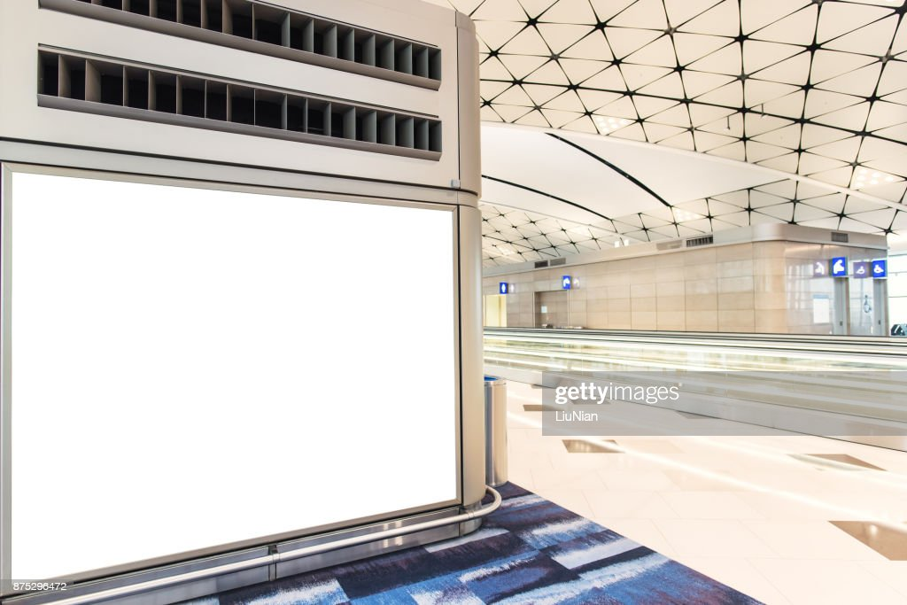 Empty advertising frame in airport : Stock Photo