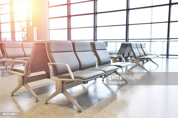 Empty airport terminal waiting area