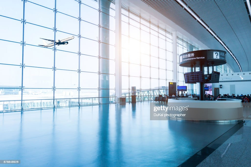Empty airport terminal waiting area : Stock Photo