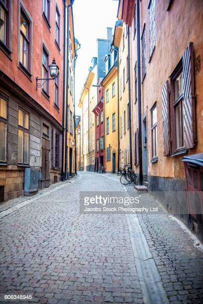 Empty alleyway and apartment buildings, Stockholm, Stockholm, Sweden