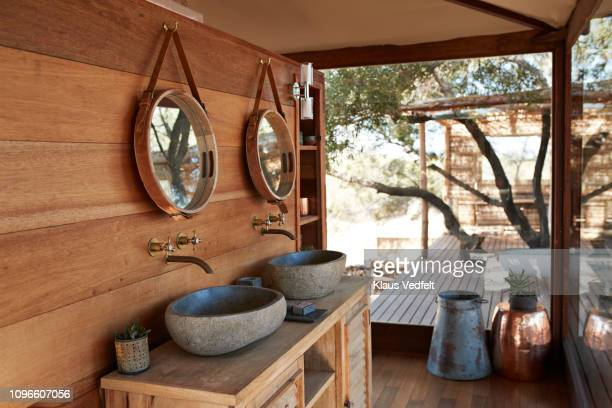 empty amazing luxury vacation cabin in the bush country - rustic stock pictures, royalty-free photos & images