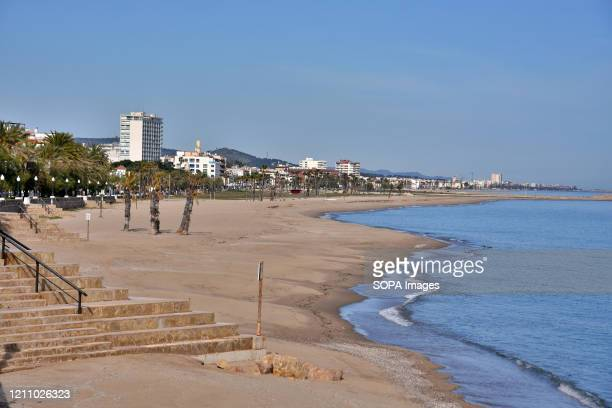 Empty and deserted beach of Masia Blanca in the town of Vendrell Tarragona during confinement 43 days since the government of Spain decreed the state...