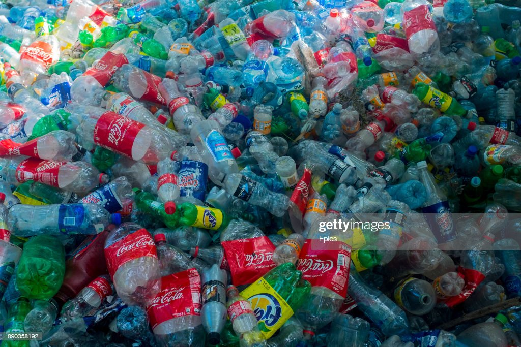 Empty and used plastic bottles form a huge pile on the island of Ometepe where communities are encouraged to collect bottles and to recycle plastic waste.
