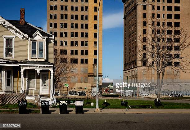 Empty apartment blocks Woodward Avenue Detroit Known as the world's traditional automotive center Detroit is a metonym for the American automobile...
