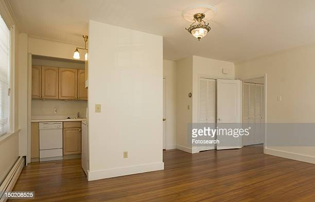 Empty apartment with hardwood floor and small kitchen