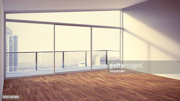 Empty apartment with wooden floor, 3d rendering