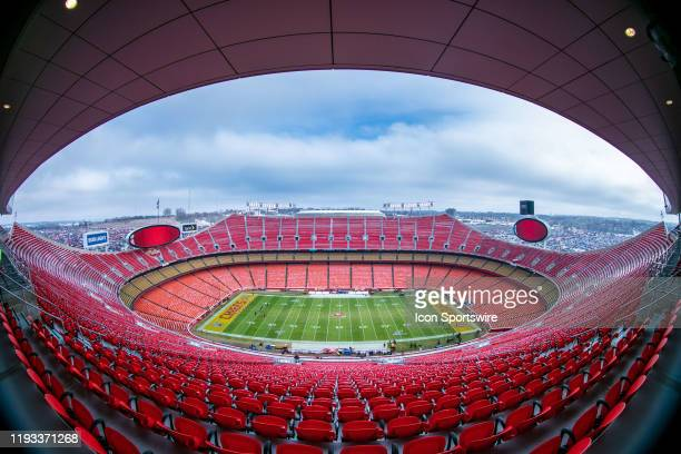 Empty Arrowhead stadium prior to the game between the Kansas City Chiefs and the Houston Texans on January 12 2019 at Arrowhead Stadium in Kansas...